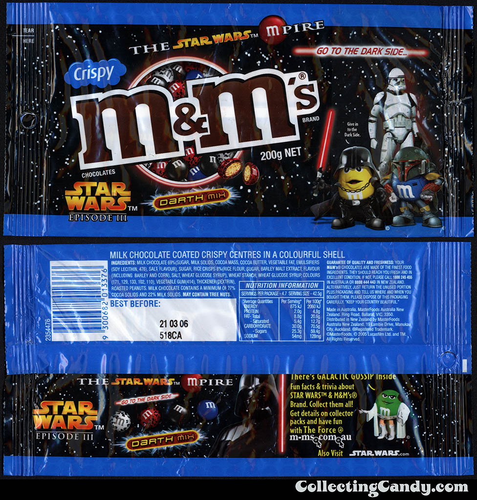 Australia - Mars - M&M's Star Wars Episode III - Crispy Darth Mix - 200g candy package - 2005