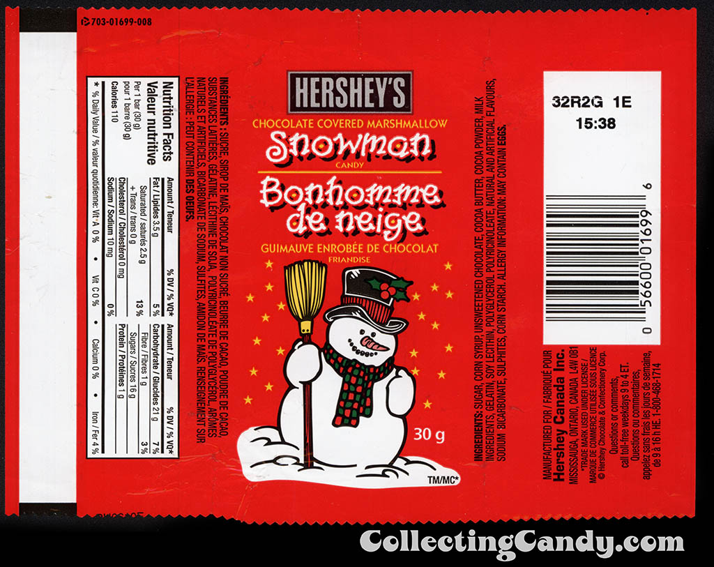 Canada - Hershey's - Chocolate Covered Marshmallow Snowman - candy wrapper - 2010
