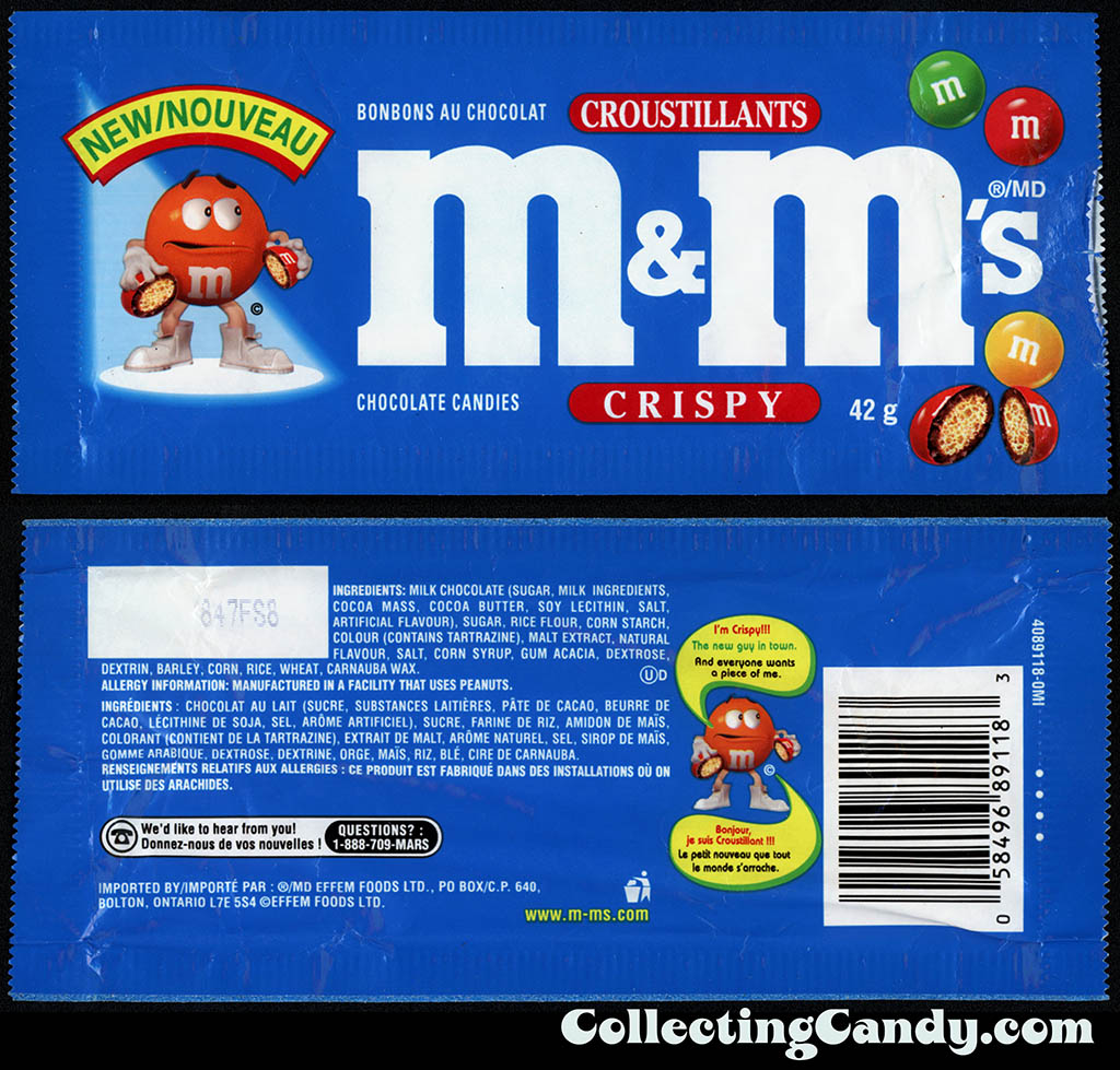 Canada - Mars Effem Foods - M&M's Crispy - New Nouveau - 42g candy package - 1998-1999