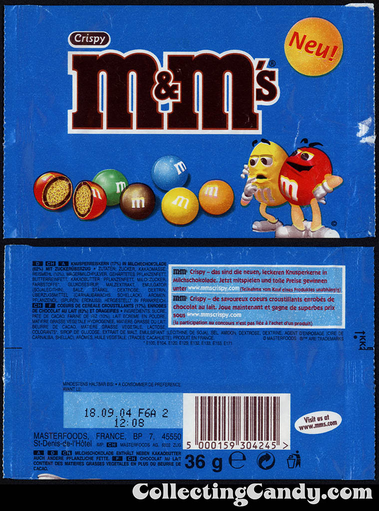 France - Mars Masterfoods - M&M's Crispy - New Neu - 36g candy package - 2004