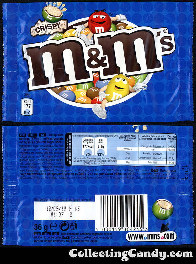 Greece - Mars - M&M's Crispy - 36g candy package - 2010