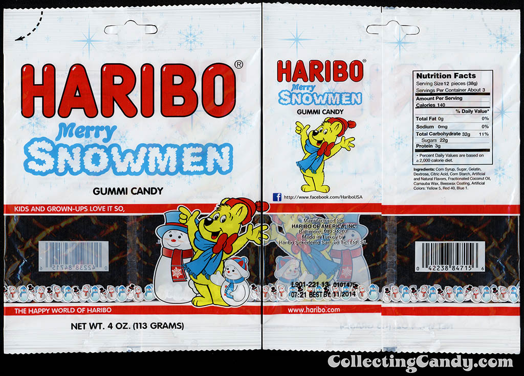 Haribo - Merry Snowmen - 4 oz Christmas gummi candy package - December 2013