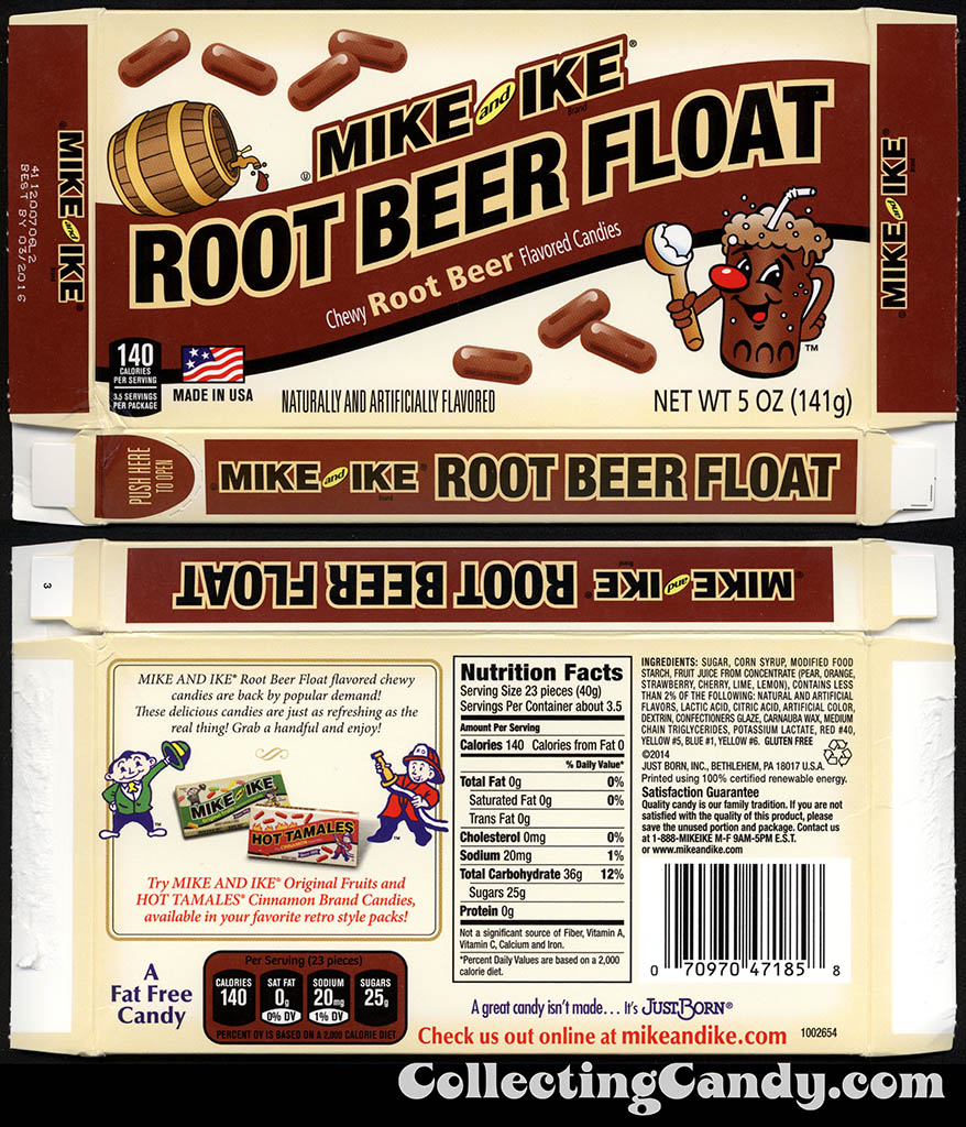 Just Born - Mike and Ike - Root Beer Float - 5oz candy box - January 2015