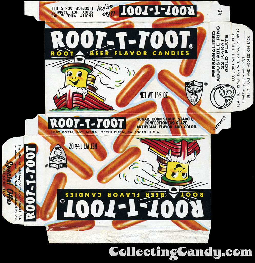 Just Born - Root-T-Toot - personalized ring - candy box -1970's ALT
