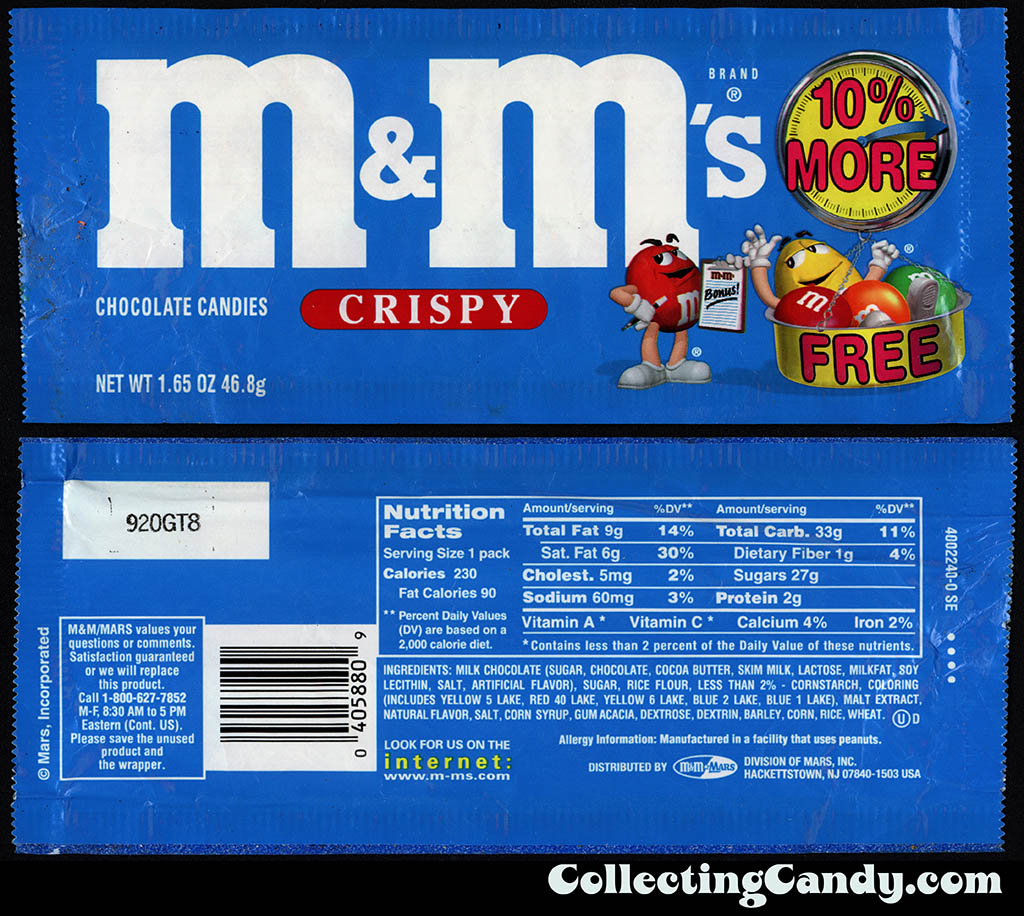 M&M-Mars - M&M's Crispy - 10 percent more free - 1.65oz candy package - 1999-2000