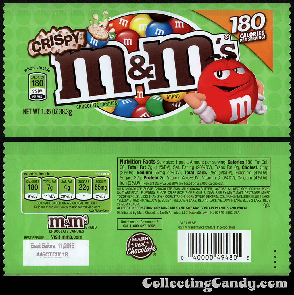 M&M-Mars - M&M's Crispy - 180 calories - 1.35 oz candy package - December 2014