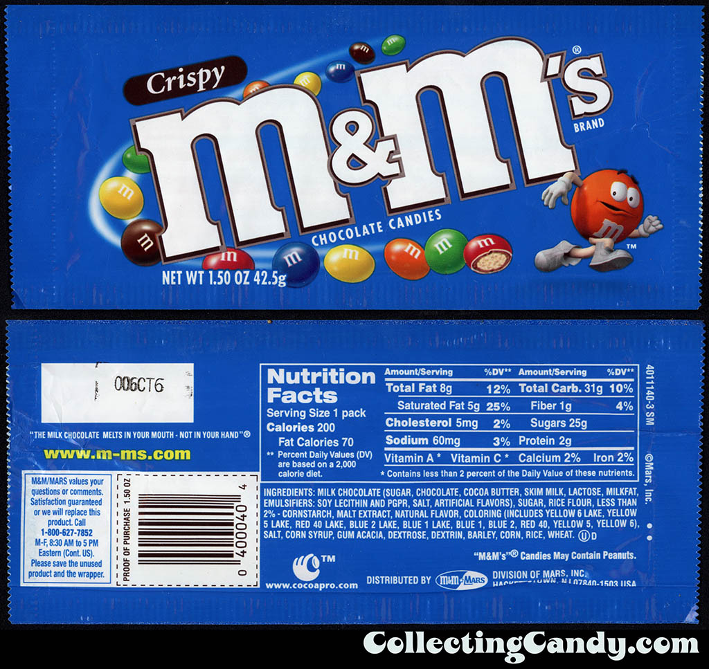 M&M-Mars - M&M's Crispy - 1.5 oz candy package - 2000-2001