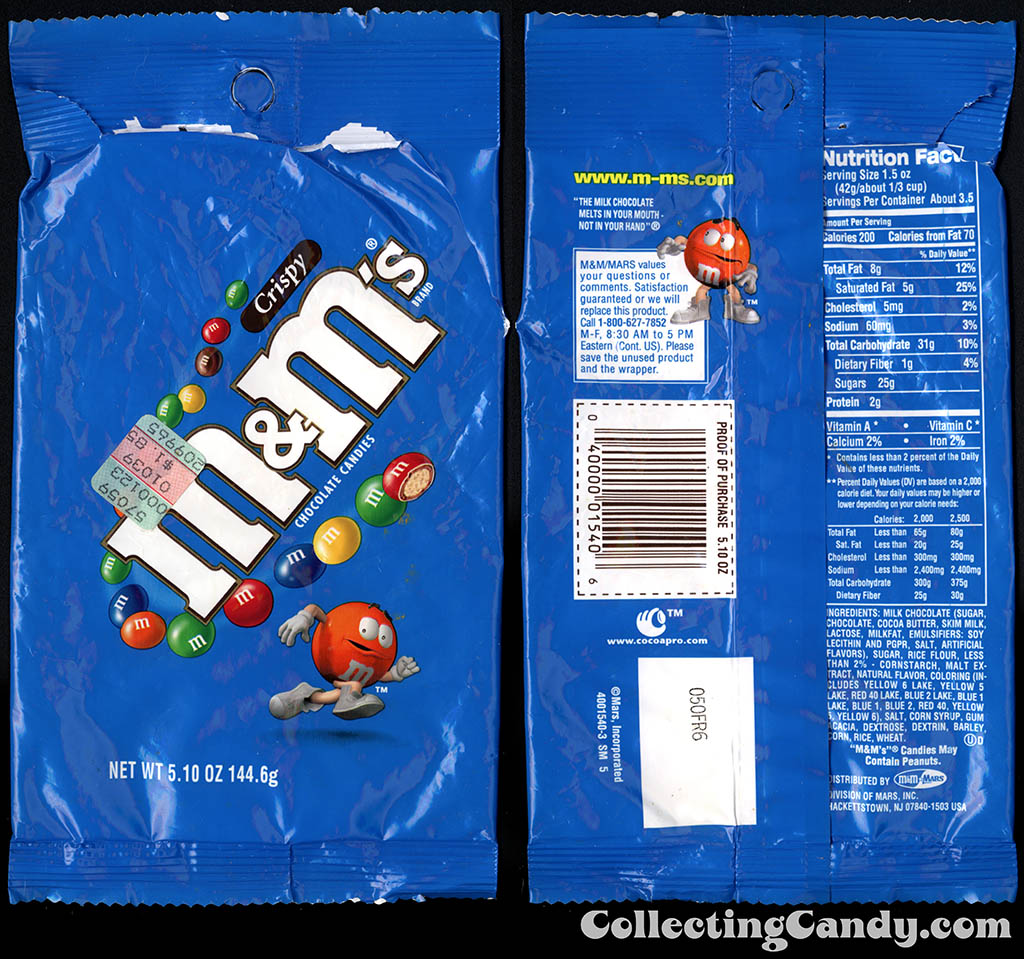 M&M-Mars - M&M's Crispy - 5.10 oz peg-bagged candy package - 2000-2001