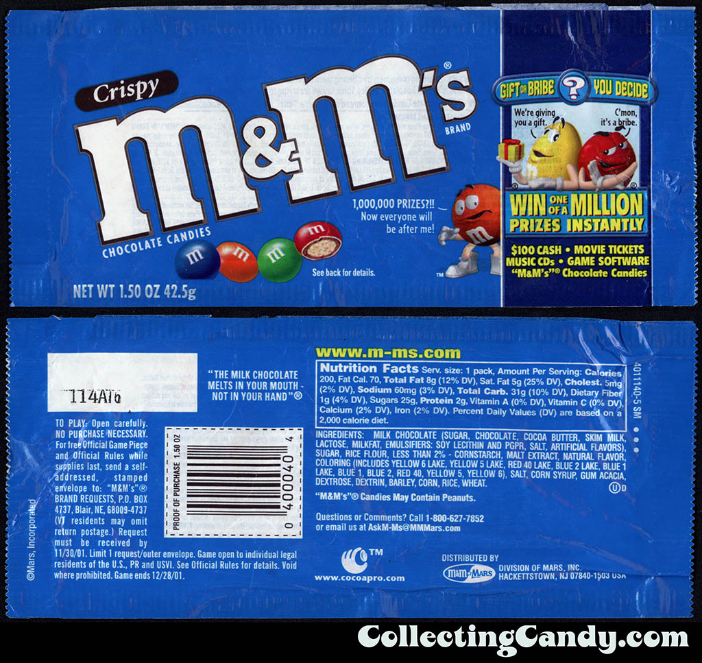M&M-Mars - M&M's Crispy - Gift or Bribe instant win game - 1.5 oz candy package - 2001