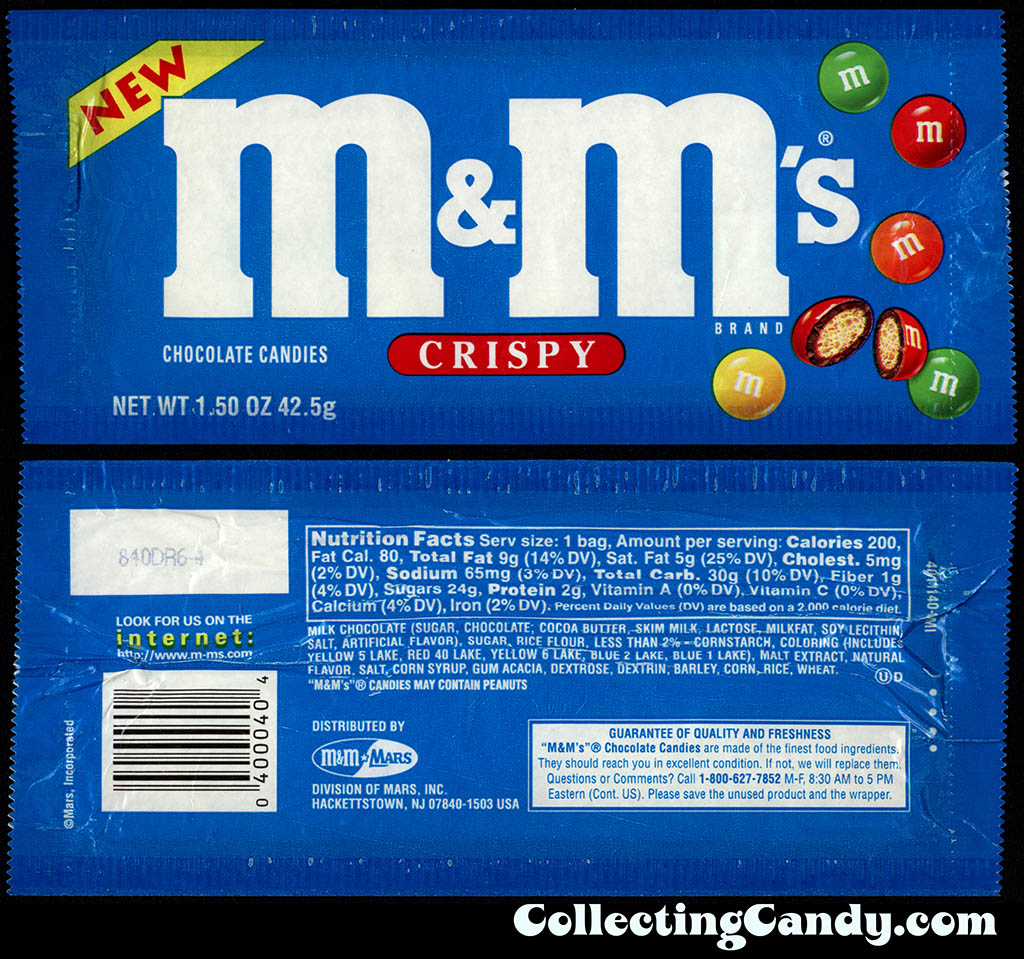 M&M-Mars - M&M's Crispy - NEW - 1.5 oz candy package - 1998-1999