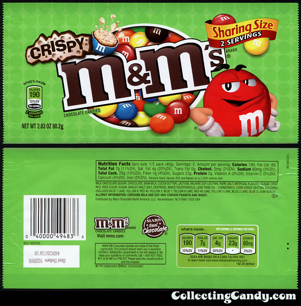 M&M-Mars - M&M's Crispy - Sharing Size - 2.83oz candy package - December 2014