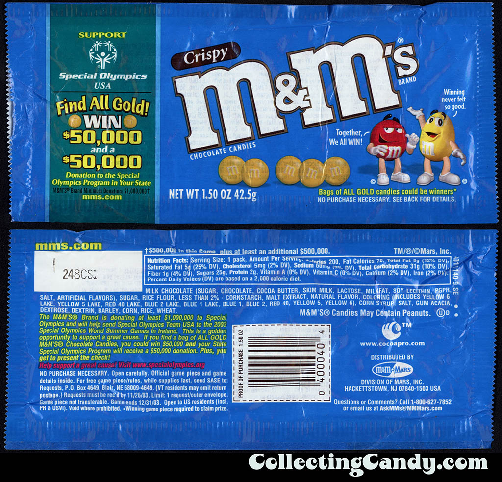 M&M-Mars - M&M's Crispy - Support Special Olympics - Find All Gold - 1.5 oz candy package - 2002-2003