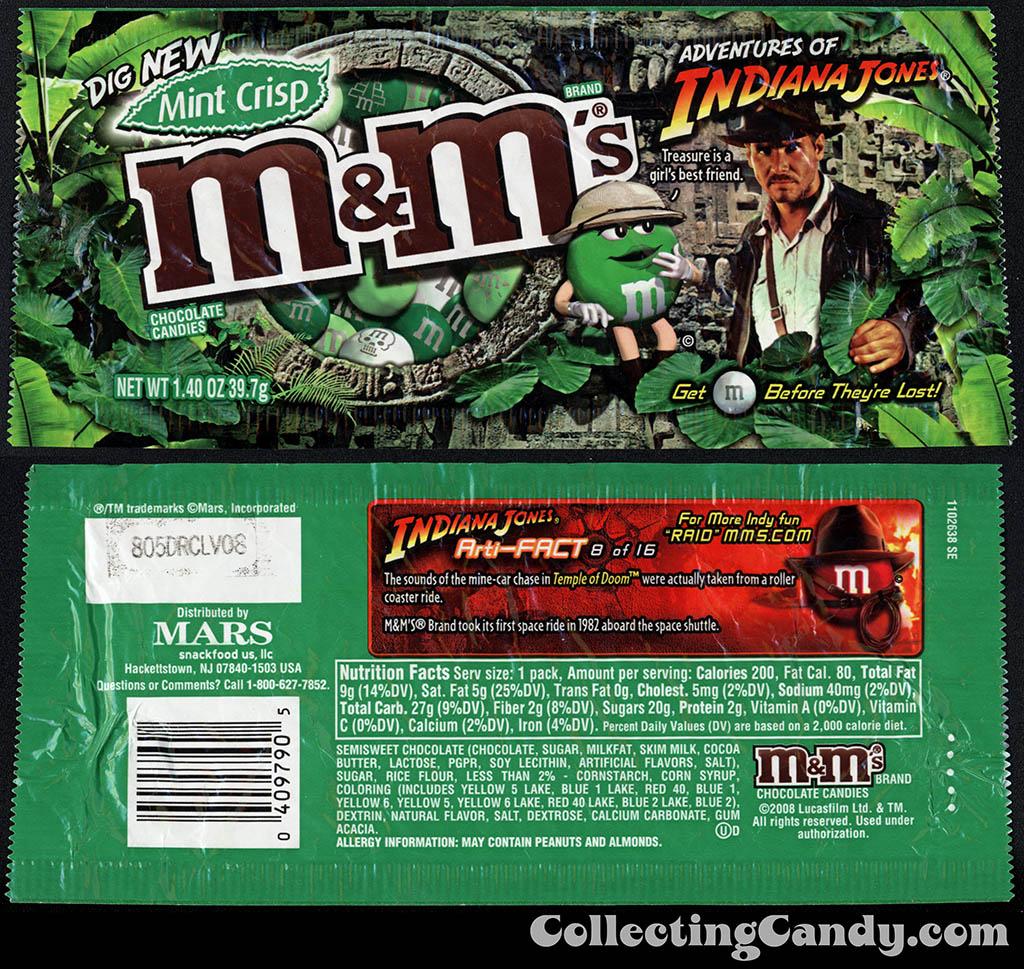 M&M-Mars - M&M's Mint Crisp - Adventures of Indiana Jones limited edition - 1.40 oz candy package - 2008