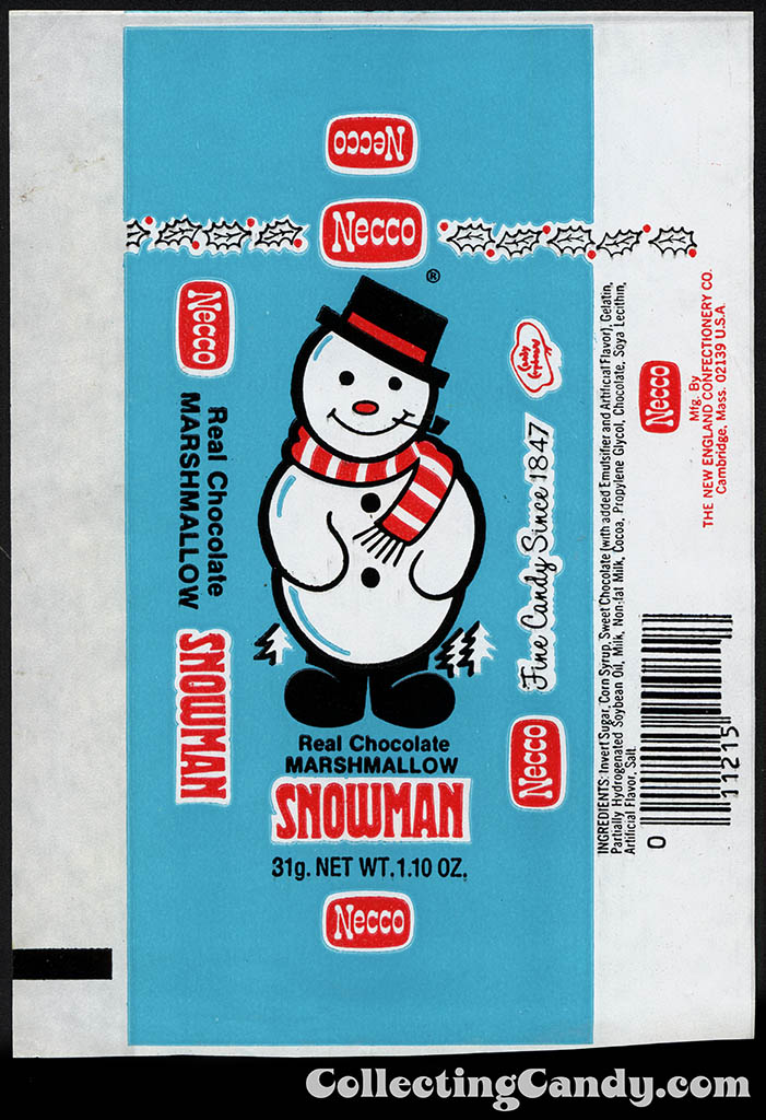 Necco - Real Chocolate Snowman - 1.10 oz Christmas candy wrapper - 1970's
