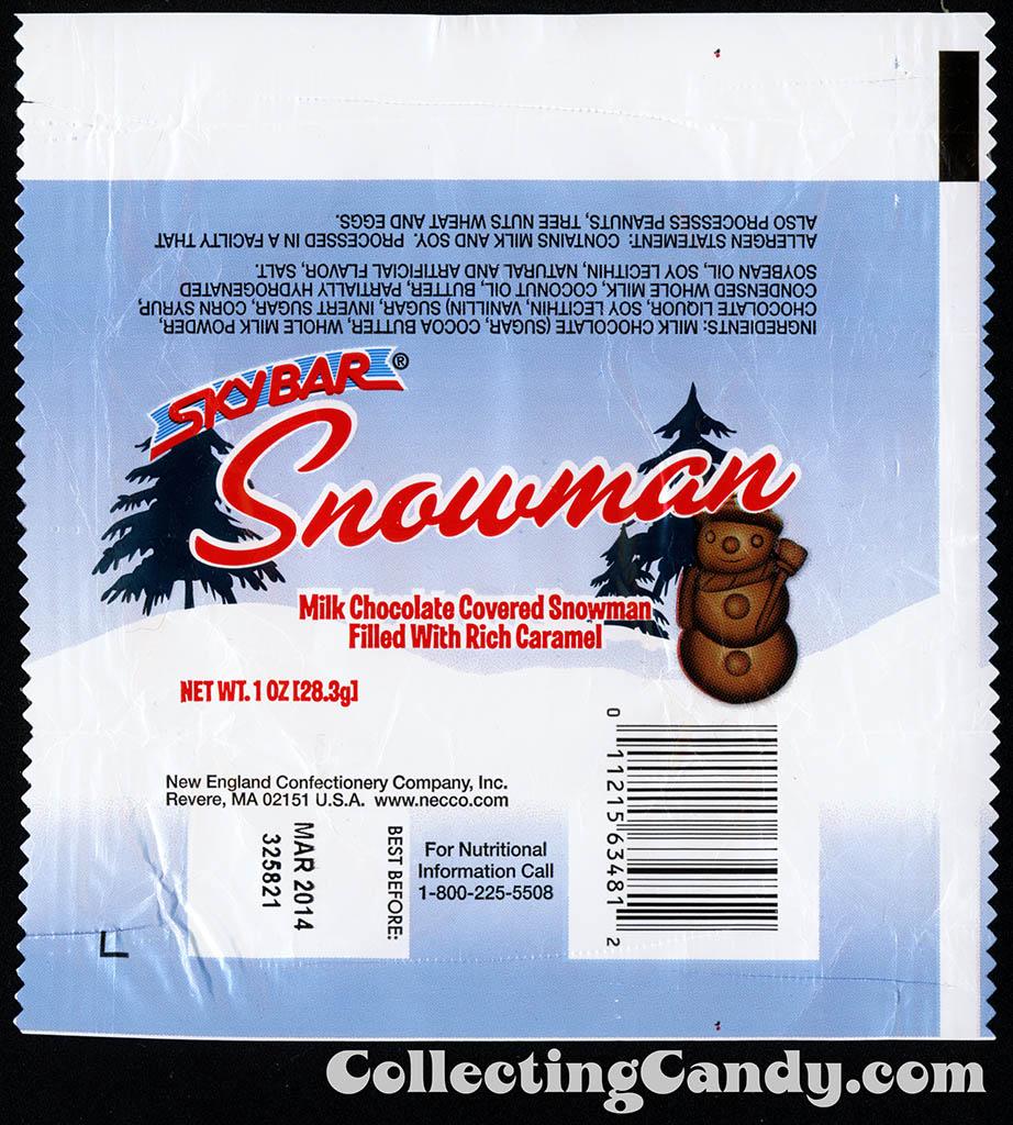 Necco - Skybar Snowman - 1oz Christmas candy wrapper - December 2012
