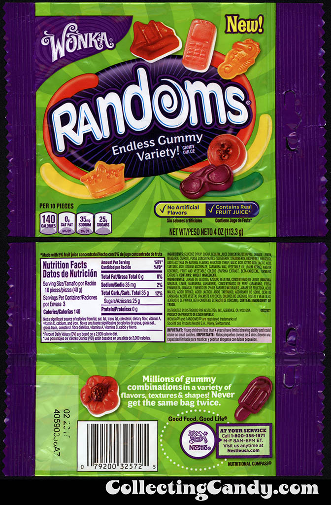 Nestle - Wonka - Randoms - Crown pack - NEW - 4oz gummy candy package - 2014