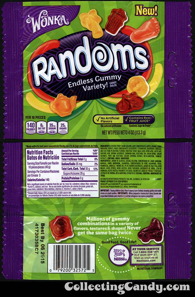 Nestle - Wonka - Randoms - Teapot pack - NEW - 4oz gummy candy package - 2014