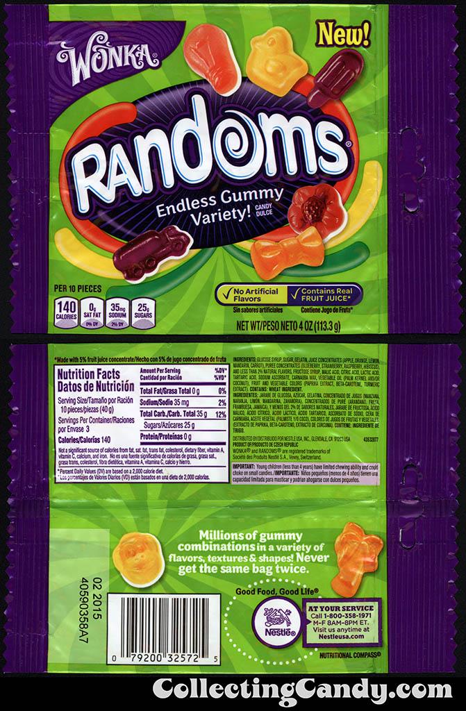 Nestle - Wonka - Randoms - Truck pack - NEW - 4oz gummy candy package - 2014