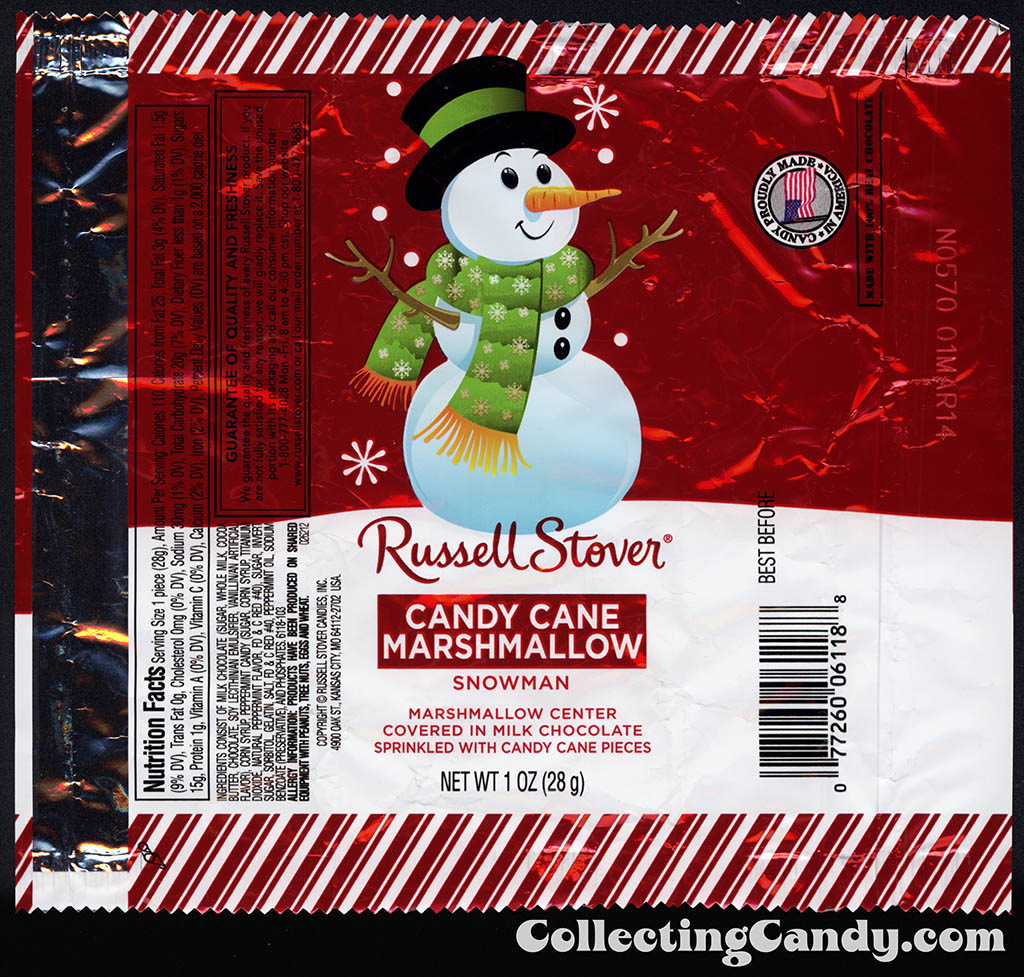 Russell Stover - Candy Cane Marshmallow Snowman - 1oz Christmas candy wrapper - December 2013
