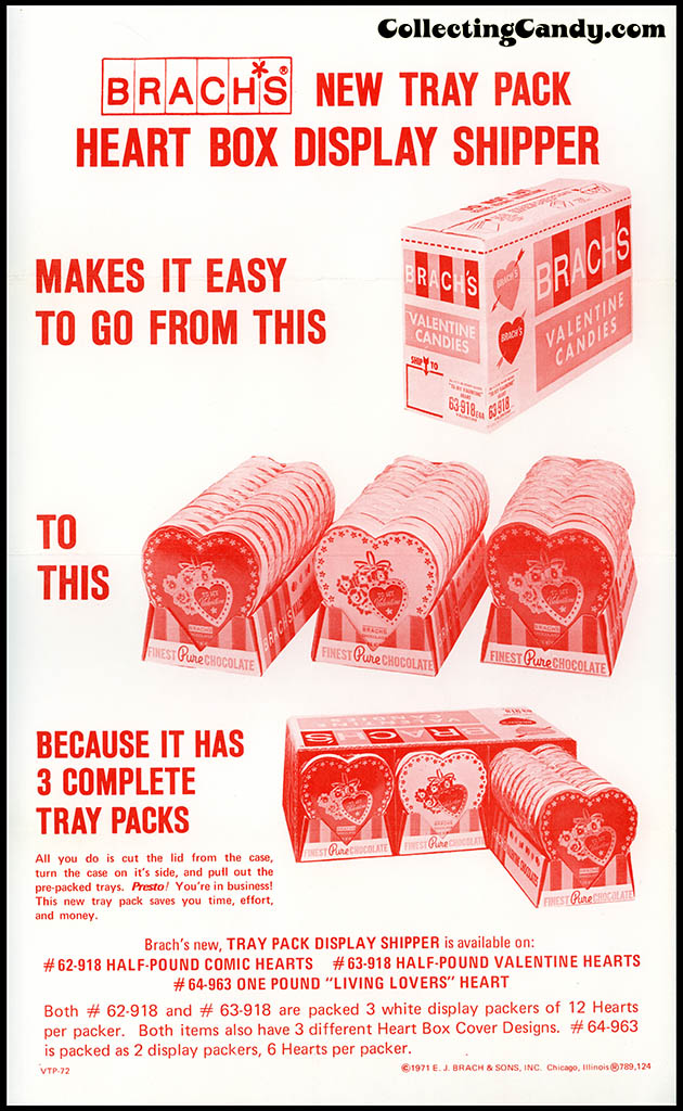 Brach's 1972 Share a little love - Heart Box Display Shipper Insert
