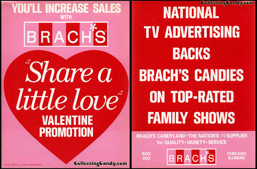 Brach's 1972 Share a little love Valentine Promotion folder - Front and Back Cover