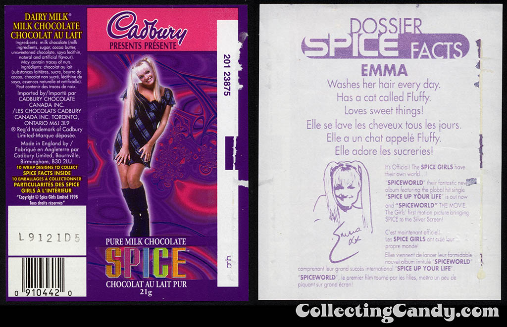 Canada - Cadbury - Spice Girls - Emma - Baby Spice - B - 21g chocolate bar candy wrapper - 1997