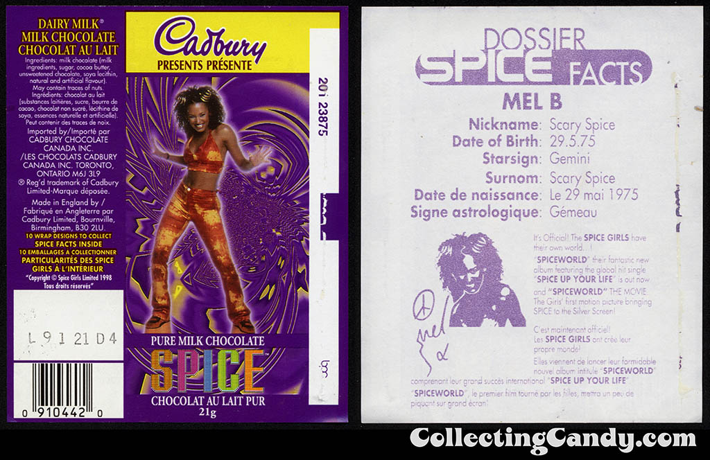 Canada - Cadbury - Spice Girls - Mel B - Scary Spice - A - 21g chocolate bar candy wrapper - 1997