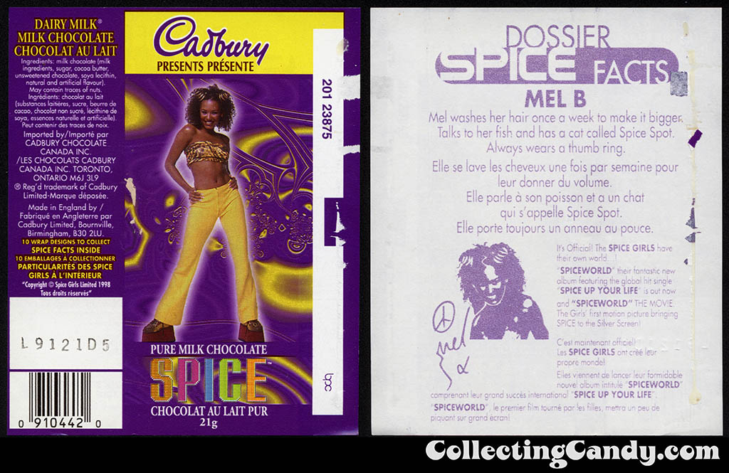 Canada - Cadbury - Spice Girls - Mel B - Scary Spice - B - 21g chocolate bar candy wrapper - 1997