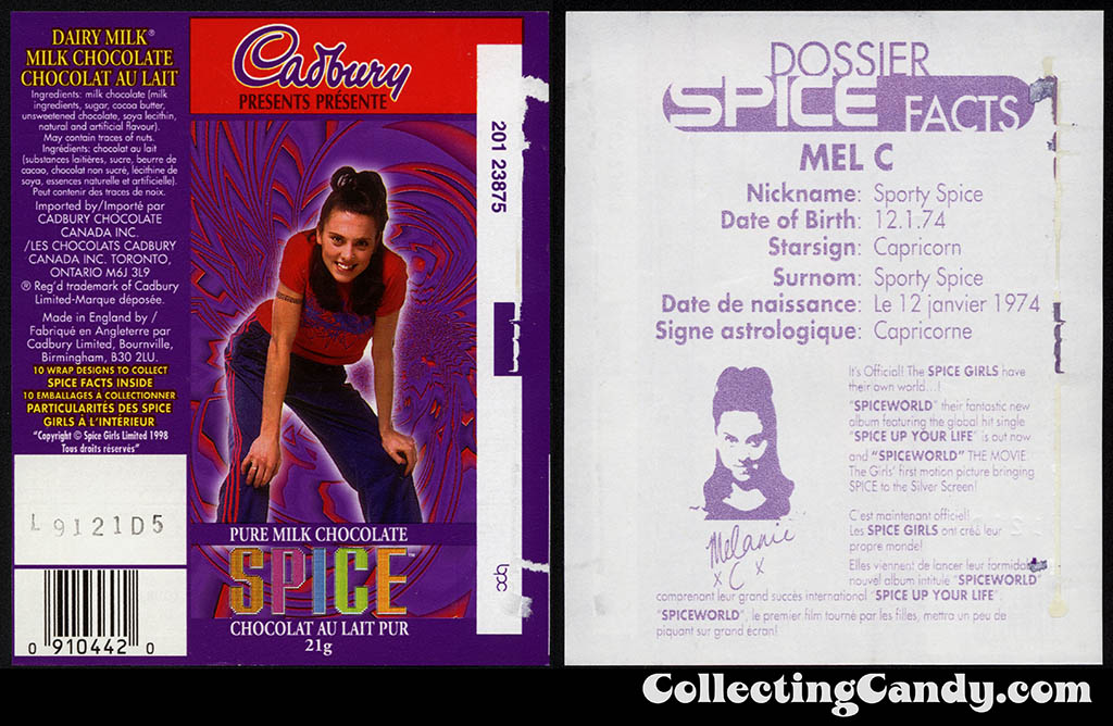 Canada - Cadbury - Spice Girls - Mel C -  Sporty Spice - A - 21g chocolate bar candy wrapper - 1997