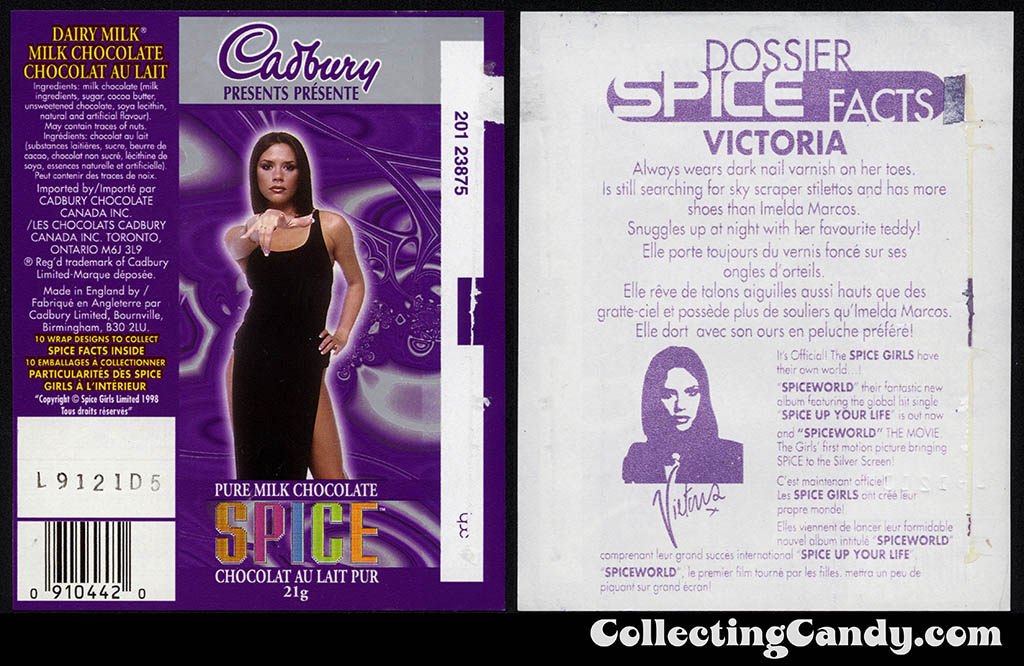 Canada - Cadbury - Spice Girls - Victoria - Posh Spice - B - 21g chocolate bar candy wrapper - 1997
