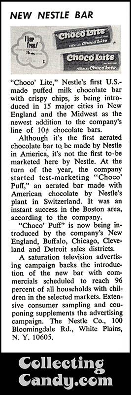 Nestle's Choco'Lite - canday trade magazine clipping - December 1971