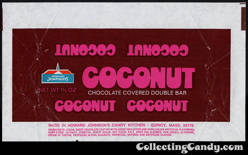 Howard Johnson's - Coconut -1 3_4 oz chocolate candy bar wrapper - 1976