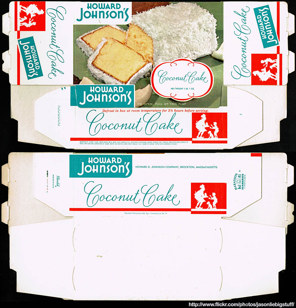 Howard Johnson's Coconut Cake package box - Marathon printer sample - 1962