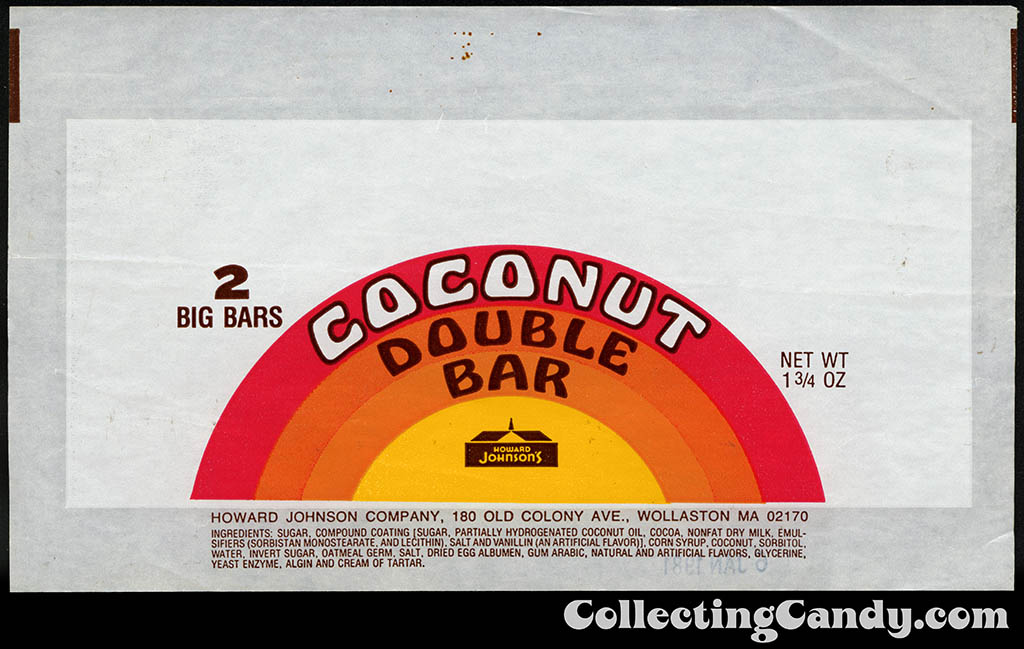 Howard Johnson's - Coconut Double Bar - 1 3_4 oz candy bar wrapper - 1970's