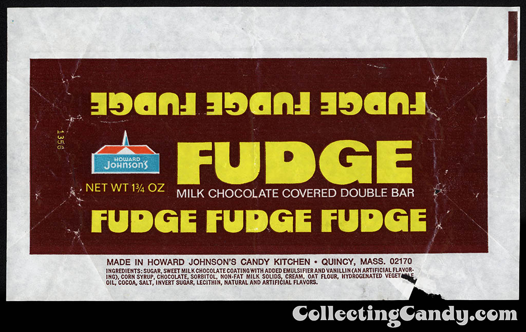 Howard Johnson's - Fudge - milk chocolate covered double bar - candy wrapper - 1970's