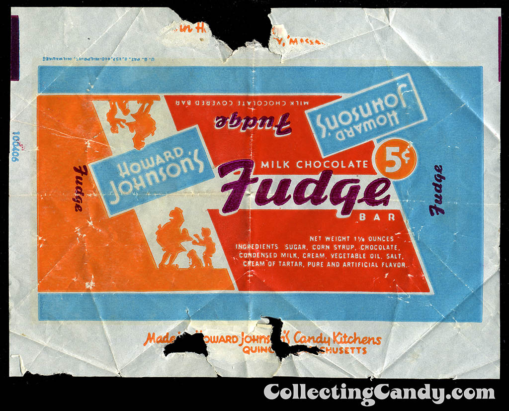 Howard Johnson's - Milk Chocolate Fudge Bar 5-cent candy wrapper - 1950's