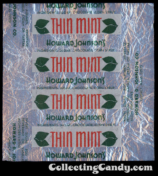 Howard Johnson's - Thin Mint - individual foil candy package wrapper - 1960's 1970's