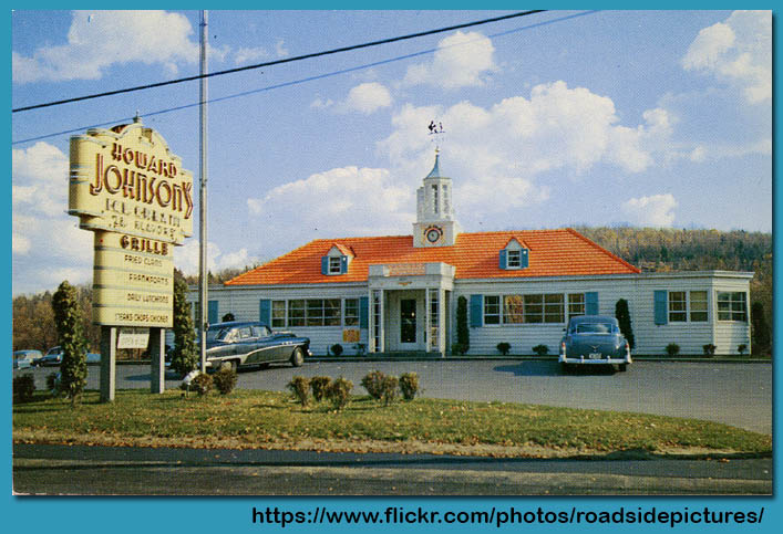 Howard Johnson's restaurant and ice cream shoppe postcard - circa 1950's - Source Allen Sandquist - Roadside Pictures