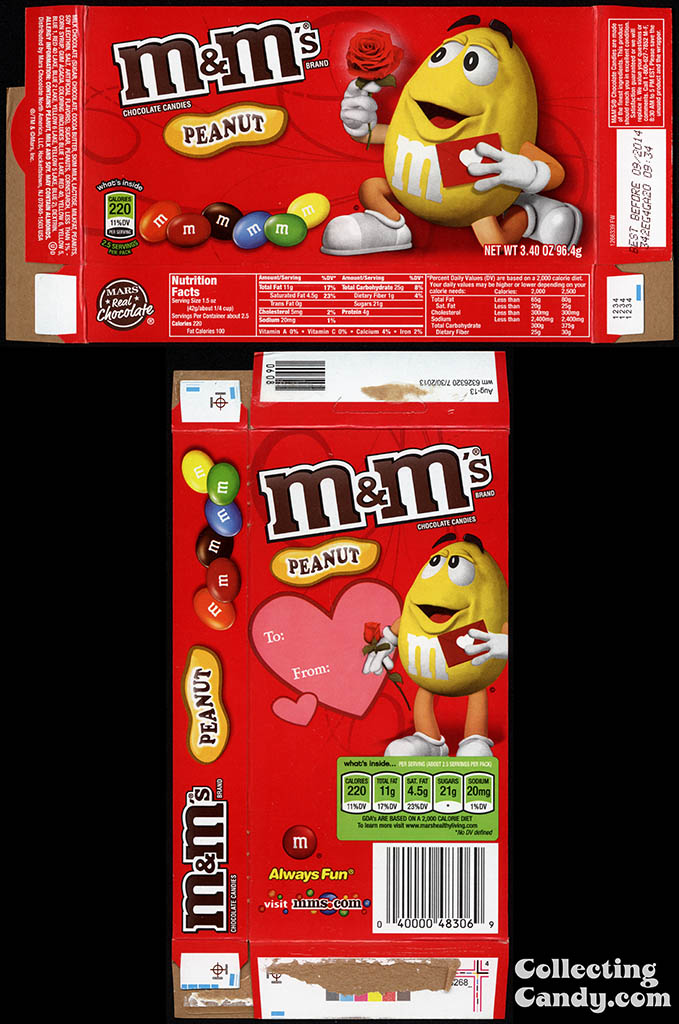Mars - M&M's Peanut - 3.40 oz Valentine's candy box - February 2014