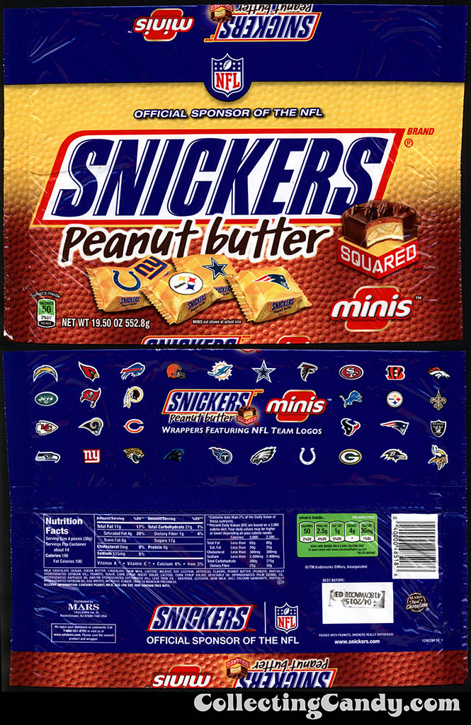 Mars - Snickers Peanut Butter Squared Minis - NFL Team Logos - 19.50oz candy package multi-bag - Fall 2014