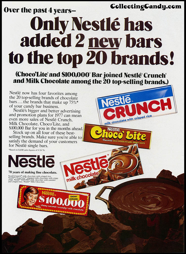 Nestle - 2 New Bars Top 20 Brands - candy trade magazine ad - 1977