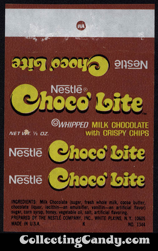 Nestle - Choco'Lite - 1/2 oz fun-size chocolate candy bar wrapper - 1976