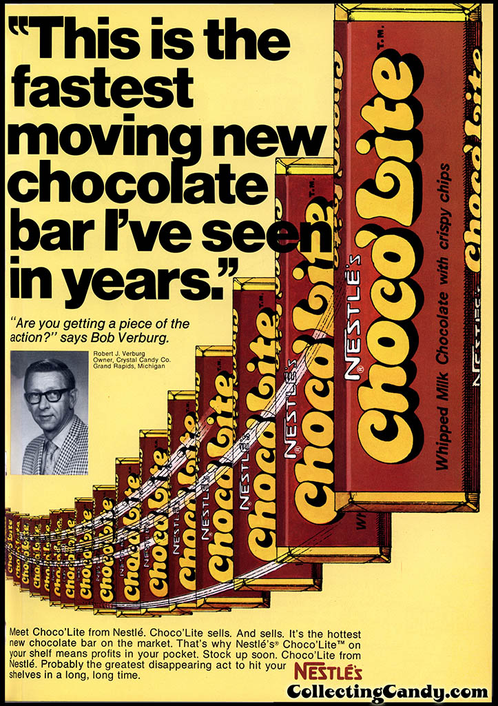 Nestle - Choco'Lite - Fastest Moving new Chocolate Bar - candy magazine trade ad - April 1973