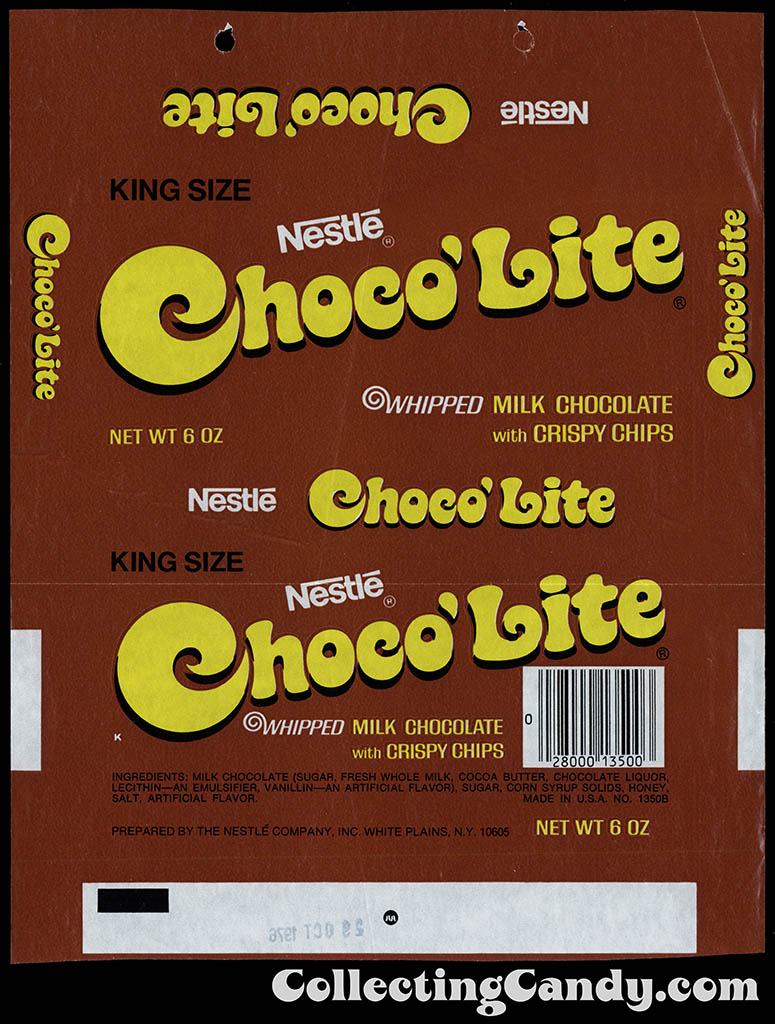 Nestle - Choco'Lite King Size - 6oz chocolate candy bar wrapper - 1976
