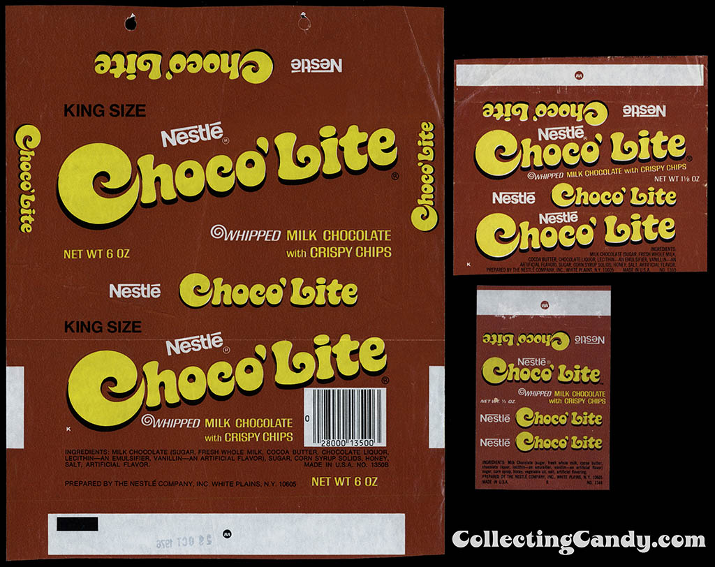 Nestle - Choco'Lite King Size - Standard - Fun-Size - wrapper size comparison - 1975-76