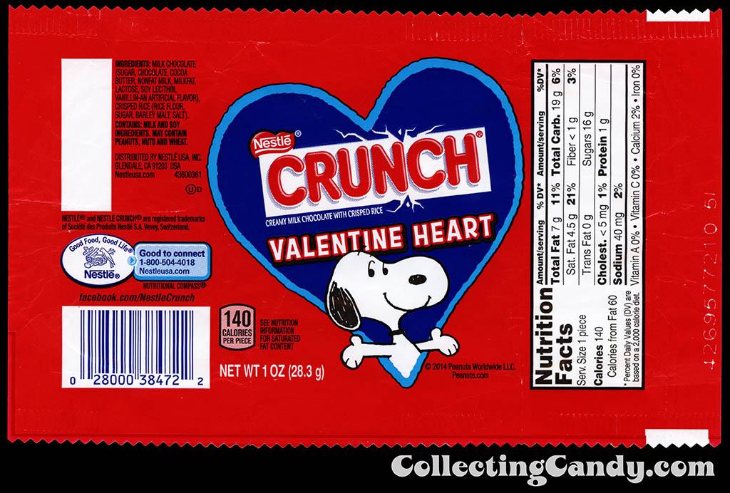 Nestle - Crunch - Valentine Heart - Peanuts Snoopy - 1oz Valentine's chocolate bar wrapper - February 2015