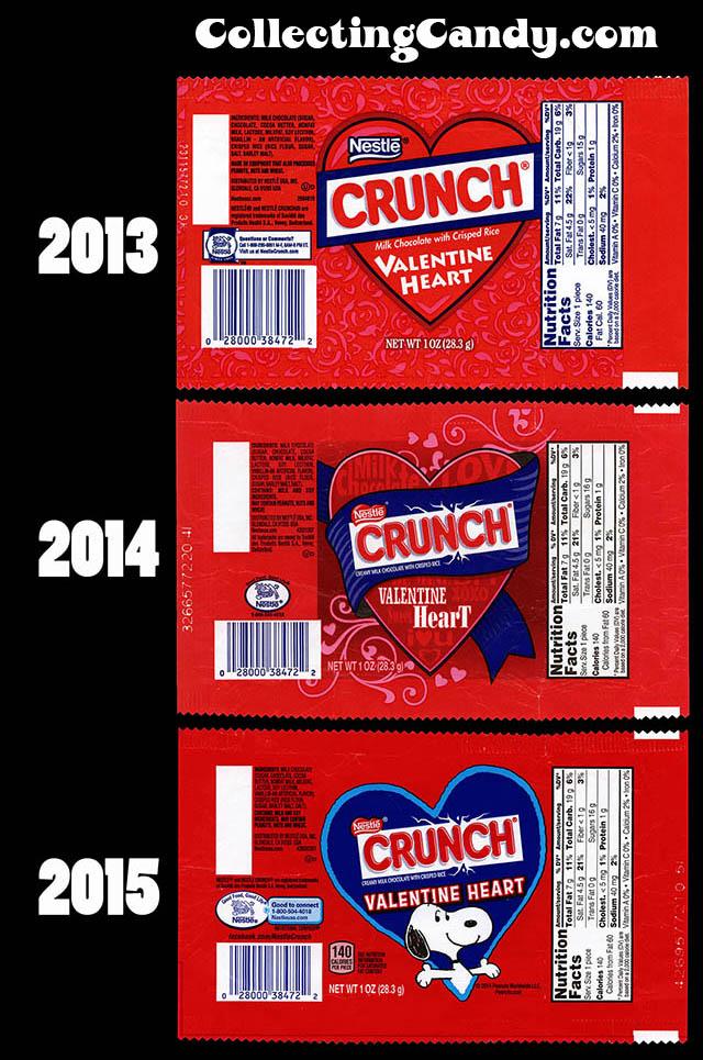 Nestle - Crunch Valentine Wrapper Comparison 2013-2015