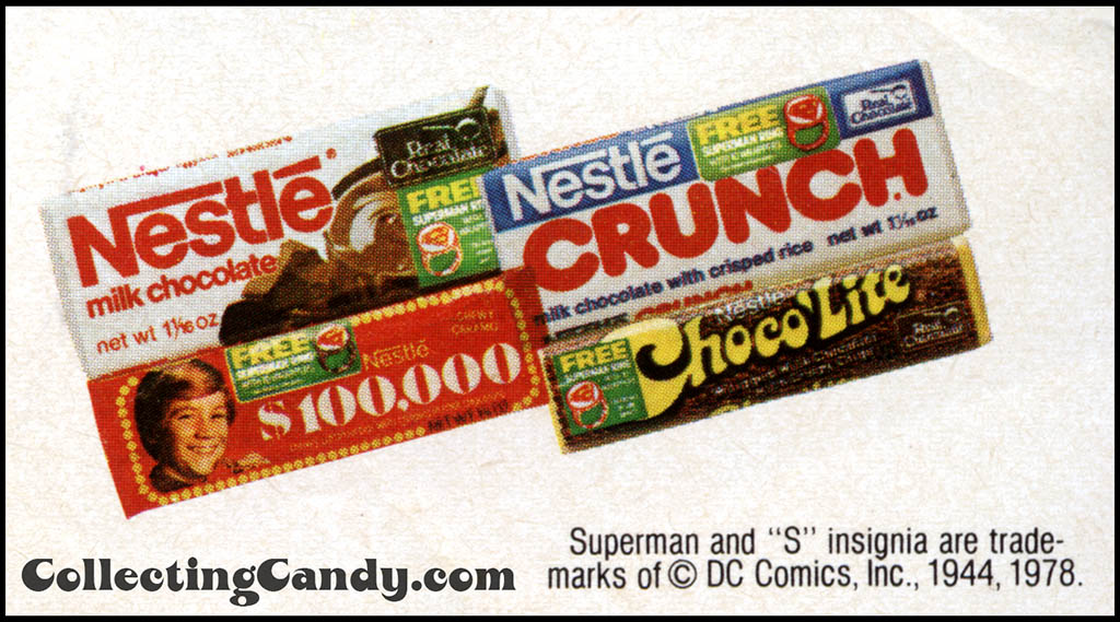 Nestle Superman promotional wrappers isolated 1979