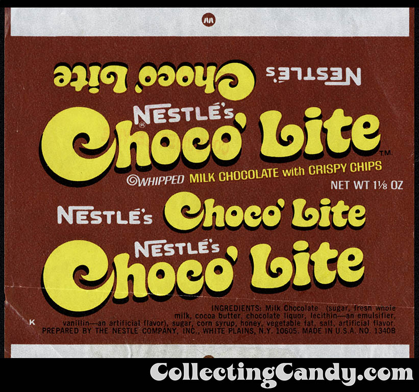 Nestle's - Choco'Lite - 1 1/8 oz chocolate candy bar wrapper - 1974