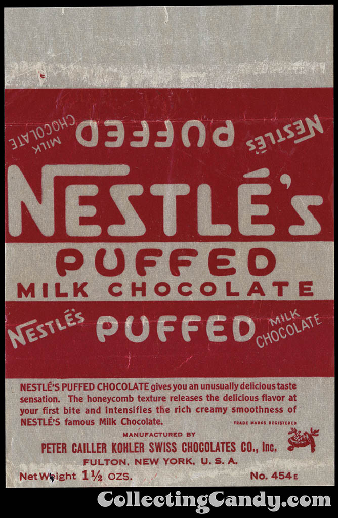 Nestle's - Puffed - Milk Chocolate - 1 1/2 oz chocolate candy bar wrapper - 1950's